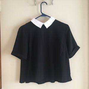 Forever 21 Collared Cropped Short Sleeved Blouse